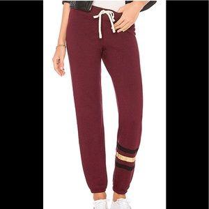 Sundry foil stripes burgundy sweatpants